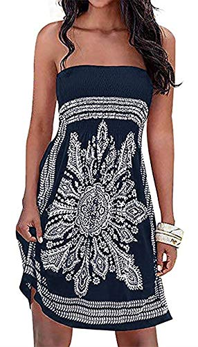 (Womens Coverup Beach Dress Strapless Summer Bohemian A line Casual Fashion Sundresses(Black,XL))