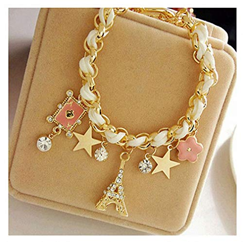 - Womens Bracelet Flower Love Star Poker Eiffel Tower Flower Bracelet Fashion Elegant Leather Rope Crystal Woven Charm Bracelets Anklets for Women Gifts White