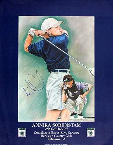 Annika Sorenstam Autographed Framed 18x24 Litho (JSA) Autographed Golf Art