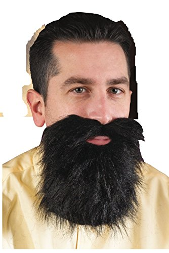 [Black Adult Mens Facial Hair Beard Moustache Mustache Costume Accessory] (Mens Lumberjack Costumes)