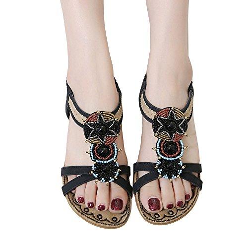 Sandales Dété, Ftxj Femmes Filles Rétro Perle Bohême Style Appartements Chaussures Noires
