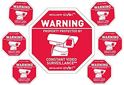 Security camera sign plus 6 security camera decals Outdoor CCTV Sign & Decals Set! from PROPERTYGUARDTM
