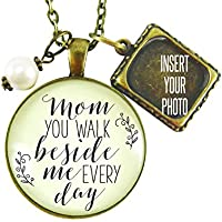 """24"""" Memorial Necklace Mom, You Walk Beside Me Every Day Bronze Pendant, Bouquet Photo Charm Wedding Memory Jewelry"""