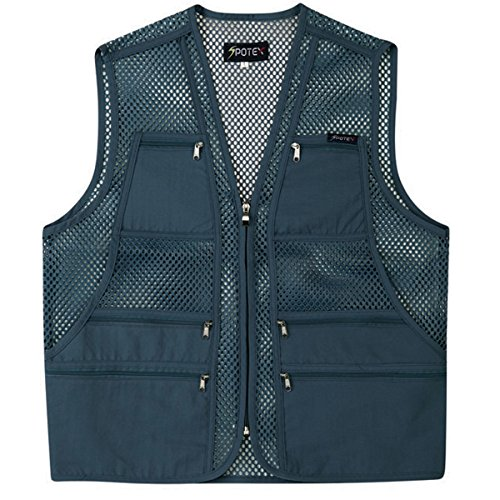myglory77mall Men's Multi Pockets Fly Fishing Hunting Mesh Vest Outdoor Jacket XL US(3XL tag Asian) Gray