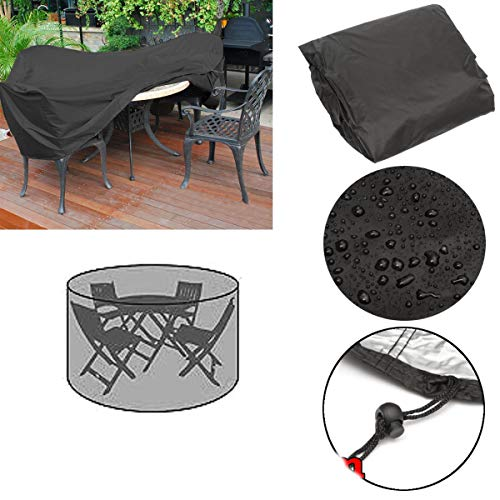 4 Garden Seater (Global Brands Online 110x185cm Outdoor Round Garden Furniture Cover Rain Dust Protector for 4 Seater)