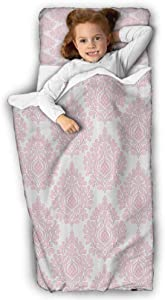 Damask Decor Kids Slumber Bags Damask Pattern Royal Motif Baby Pink Floral Design Victorian Fashioned Home Decor Great for Boys and Girls Pink White 43X21 INCH