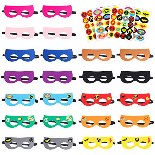 PANTIDE 24Pcs DIY Marvel Avengers Masks,Multicolored Superhero Party Supplies, Felt and Elastic Cosplay Party Favors with 4 Sheets Superhero Stickers for Kids Boys Girls