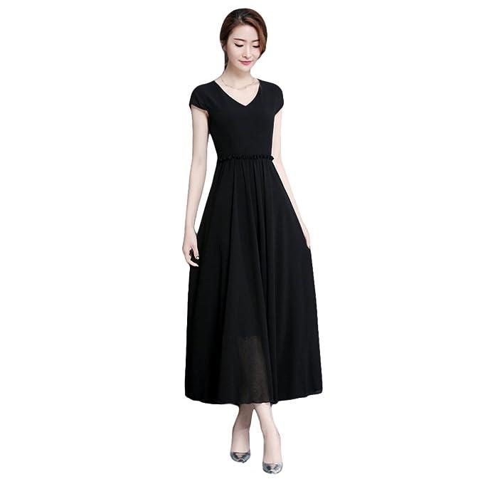 Vestido Largo De Gasa De Manga Corta De Verano para Mujer Vestido De Cóctel De Noche