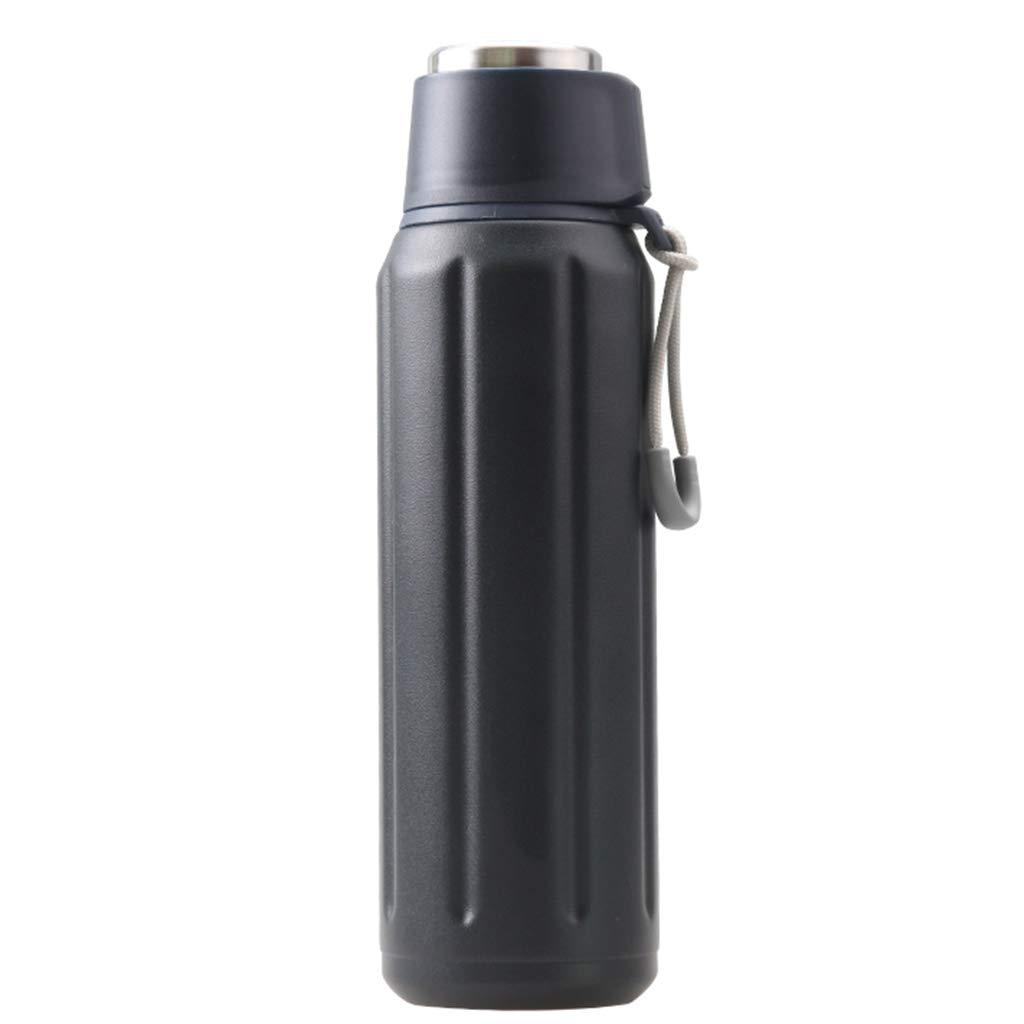 FYCZ Caraffa Termica, in Acciaio Inox per Esterni Grande capacità di Viaggio Portatile A Tenuta Stagna Thermos 0.6L (colore   Nero)