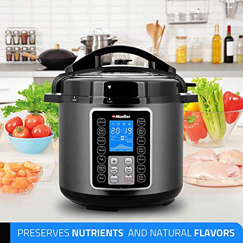 Mueller UltraPot 6Q Pressure Cooker Instant Crock 10 in 1 Pot with German ThermaV Tech, Cook 2 Dishes at Once, BONUS Tempered Glass Lid incl, Saute, Steamer, Slow, Rice, Yogurt, Maker, Sterilizer by Mueller Austria (Image #3)