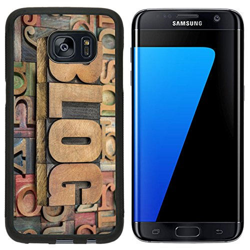 Liili Samsung Galaxy S7 Edge Aluminum Backplate Bumper Snap Case iPhone6 ID: 28038413 blog word in wood type against background of letterpress printing (Letterpress Type Printing)