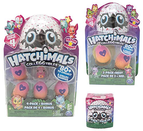 Hatchimals CollEGGtibles Season 4 Hatch Bright 4-Pack Bundle 2-Pack + Nest 1-Pack (Random Assortment) Collectibles