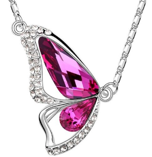 Butterfly Wing Drop Pink Crystal Pendant Necklace W (Drop Pink Sapphire Necklace)