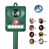 Acidea Outdoor Solar Ultrasonic Animal Repeller, Waterproof Pet Repellent with LED Flashing Light