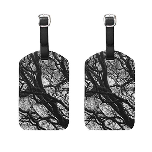 MUOOUM Black White Branch Tree Luggage Tages Travel Labels Suitcase Bag Tag with Name Address Cards 2 Pcs Set -