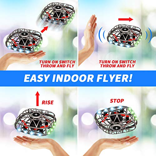 Hand Operated Drones for Kids or Adults - Mini Drone Flying Ball Toys with Led Lights & Music for Boys Girls, Easy Fly UFO Toy