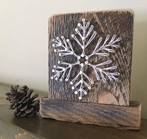 Sweet and small free standingsnowy snowflake gifts. Christmas themed string art decor. Perfect for ski cabins and teachers gifts. Made in Maine by Nail it Art