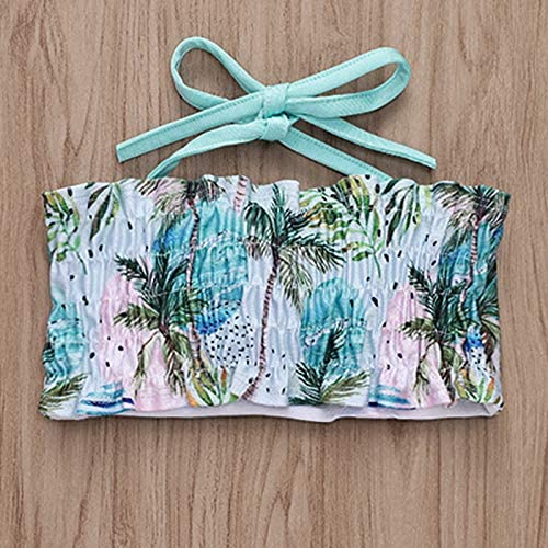 Coconut Waves Print Bikini Set 1-5T Toddler Baby Girls Swimsuit Outfit Halter Strap Crop Top