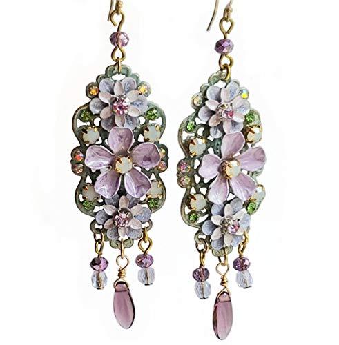Long Lilac Enamel Flower Chandelier Earrings on 14k Gold Fill Wires