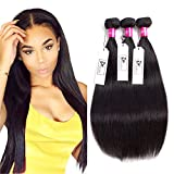 CHEEON 8A Malaysian Virgin Hair Straight 3 Bundles Deals 12 14 16 Inches 100% Unprocessed Human Hair Bundles Weave 300g Natural Black Can be Dyed