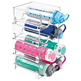 mDesign Plastic Freestanding Water Bottle Storage Organizer for Kitchen Countertop, Table, Pantry, Fridge - Holds Water Bottles, Pop/Soda, Wine, Beer - Stackable, 2 Bottles Each, 4 Pack - Clear