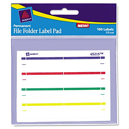 Label Pads - Avery 45215 Label Pads, File Folder, Permanent, 2/3 x 3 7/16, Assorted (Pack of 160)