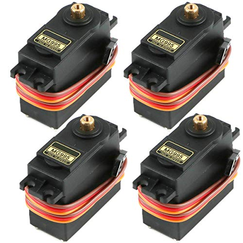 RGBZONE 4PCS Servo Motor MG995 Control Angle180 Metal Gear Servo 20KG Digital High Speed Torque Servo Motor for Smart Car Robot Boat RC Helicopter