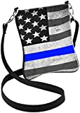 Thin Blue Line American Flag in Support of Police and Law Enforcement Manufactured in USA Hipster Crossbody Bag