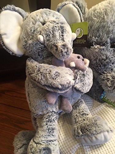 Kids' Plush Soft Elephant Animal Chair 16'' Grey & White, Extra Plush Elephant and Childs Animal Touch Book