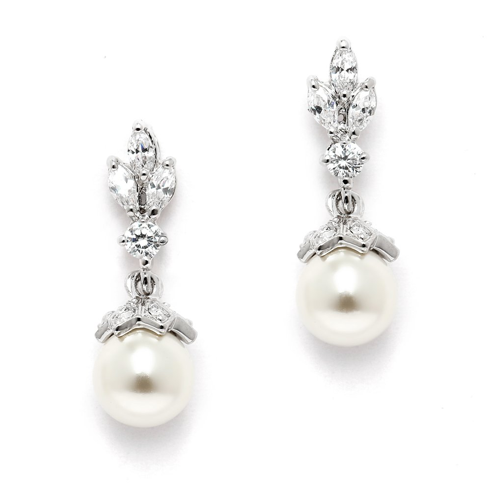 Mariell Light Ivory Pearl Drop Vintage Bridal Earrings with Platinum Plated Cubic Zirconia Marquis