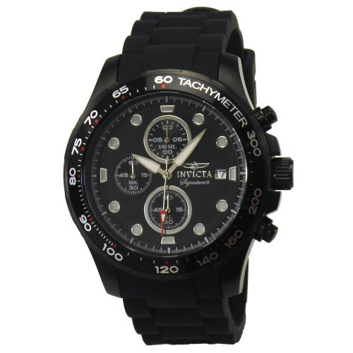 Invicta Signature II Chronograph Black Ion-plated Black Rubber Strap Mens Watch 7375