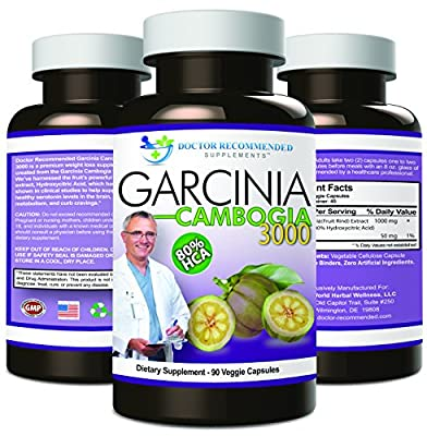 Garcinia Cambogia Capsules-Pure Extract-Natural Dietary Supplement for Weight Loss-1000mg/serving 90 Ct Veggie Diet Pills-CERTIFIED AS 80% HCA (OTHERS AREN'T)-Appetite Suppressant