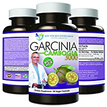 Garcinia Cambogia Extract 3000- Pure 80% HCA - #1 Doctor Recommended Formula - 1000mg 90 capsules - Maximum Dosage (3000mg veggie diet pills daily) - 100% Natural Weight Loss Supplement - 30 Day Supply - CREATED AND FORMULATED BY REAL DOCTORS