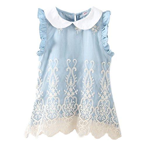 LittleSpring Little Grils Peter Pan Collar Denim Lace Dress Sleeveless Summer Sundress Size -