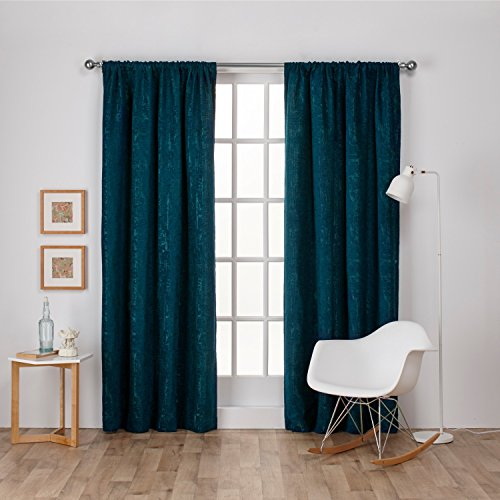 Exclusive Home Curtains Crosshatch Chenille Rod Pocket Window Curtain Panel Pair, Teal, 52x96 - Chenille Jacquard Panel