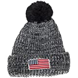Artisan Owl USA United States of America Patriotic Winter Knit Pom Pom Beanie Hat with Cuff (Gray/Black with Patch)