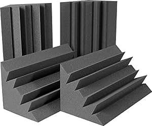 """Auralex Acoustics LENRD Acoustic Absorption Bass Traps, 24"""" x 12"""" x 12"""", 4 Pack, Charcoal"""