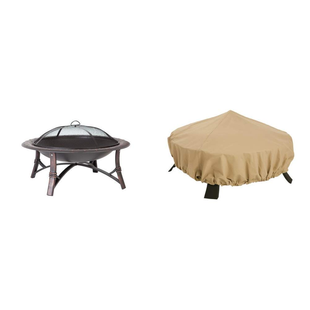 Fire Sense Roman Fire Pit w/ Classic Accessories Terrazzo Cover by Fire Sense