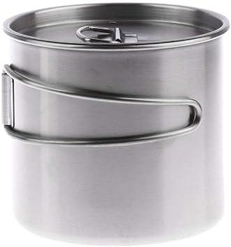 Tubayia 500 ml de acero inoxidable para camping, taza, cuenco con asa plegable y tapa