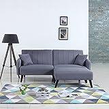 Mid-Century Modern Linen Fabric Futon Sofa Bed Living Room Sleeper Couch [Light Grey]