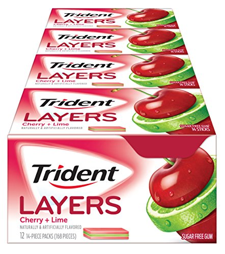 Candy Sweet Cherry (Trident Layers Gum, Sweet Cherry and Island Lime, 14-Count (Pack of 12))