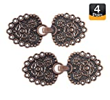 Bezelry Romantic Bouquet HOOK And EYE Cloak Clasp Fasteners Pack of 4 Pairs 62mm x 25mm Fastened. (Antique Copper)