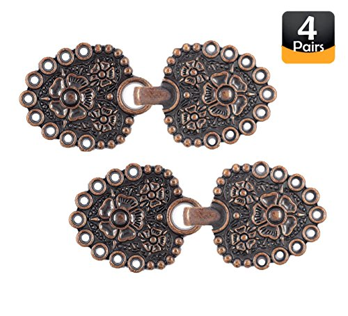 Bezelry Romantic Bouquet HOOK And EYE Cloak Clasp Fasteners Pack of 4 Pairs 62mm x 25mm Fastened. (Antique Copper) by BEZELRY
