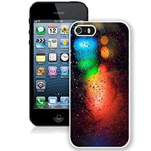 NEW Unique Custom Designed iPhone 5S Phone Case With Rain On Glass Blue Green Red Lights_White Phone Case