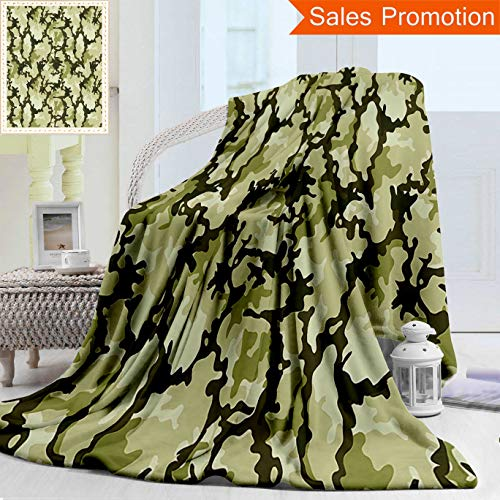 """Camouflage Blanket Receiving Woodland - Unique Custom Warm 3D Print Flannel Blanket Camo Pattern In Green Shades Army Background Woodland Wild Nature Light Green Dark Gr Cozy Plush Supersoft Blankets for Couch Bed, Throw Blanket 50"""" x 60"""""""