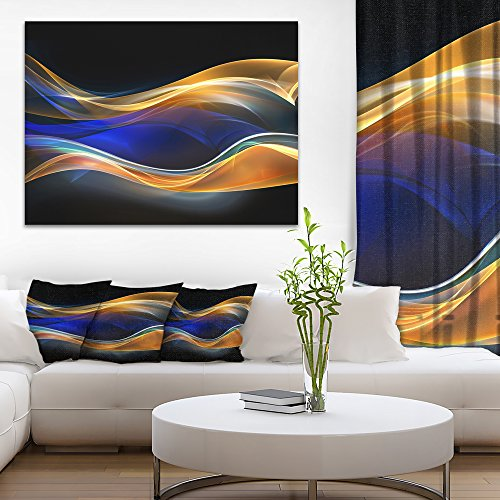 3D Gold Blue Wave Design Abstract Canvas art print by Design Art