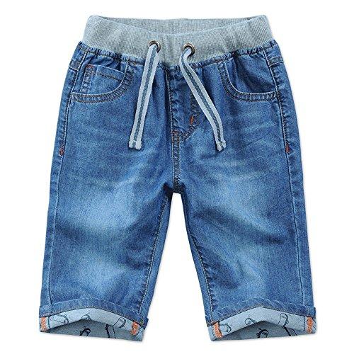 Boys Kids Pull On Denim Adjustable Half Length Summer Jeans Shorts
