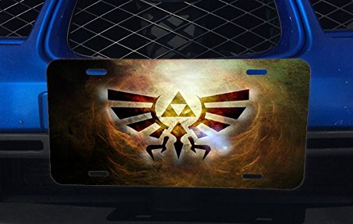 Trendy Accessories The Legend Of Zelda Triforce Symbol Silhouette Design Print Image Aluminum License Plate for Car Truck Vehicles