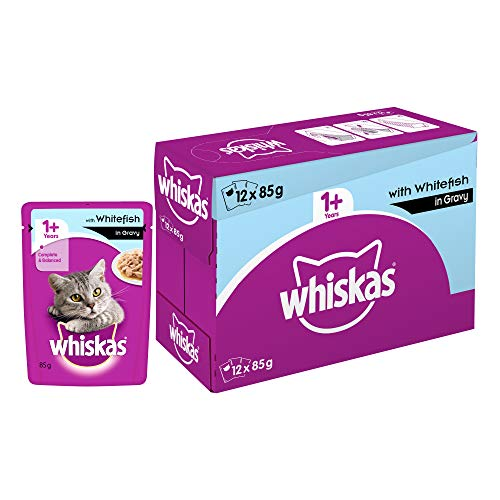 Whiskas Adult (+1 year) Wet Cat Food, Whitefish in Gravy, 12 Pouches (12 x 85g)