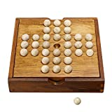 Sumnacon Wooden Peg Solitaire Board Game, Mini High Q Brain Teaser Board Games, Traditional Challenging Board Game for Kids and Adults - Idea Toy and Gift